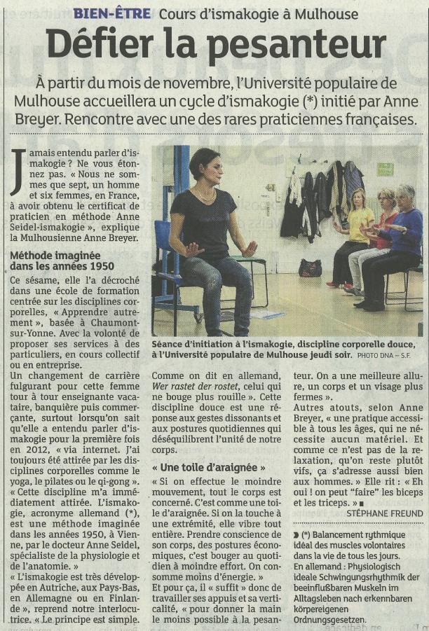 Cours d'ismakogie à Mulhouse avec Anne Breyer - Défier la pesanteur - Dernières Nouvelles d'Alsace Stéphane Freund